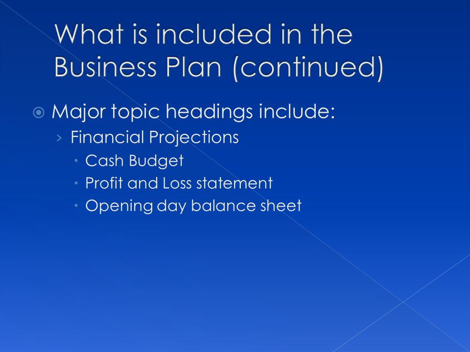 Major topic headings include: Financial Projections Cash Budget Profit and Loss statement Opening day balance sheet