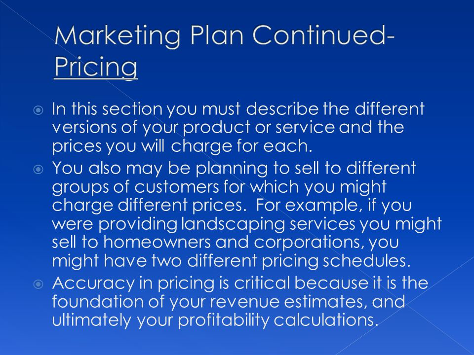 In this section you must describe the different versions of your product or service and the prices you will charge for each. You also may be planning