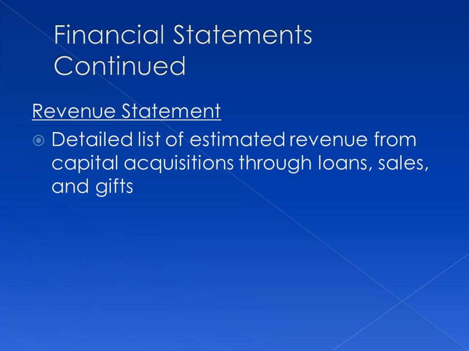 Revenue Statement Detailed list of estimated revenue from capital acquisitions through loans, sales, and gifts