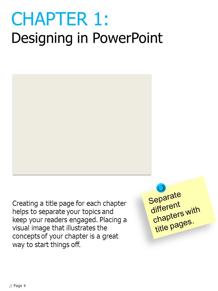 Creating a title page for each chapter helps to separate your topics and keep your readers engaged.