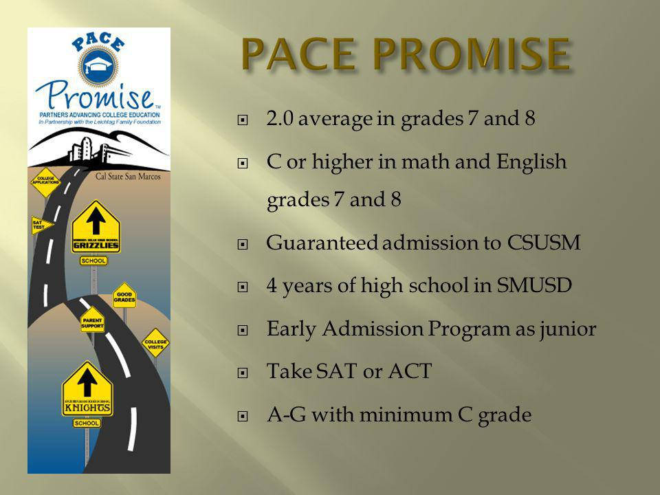 2.0 average in grades 7 and 8 C or higher in math and English grades 7 and 8 Guaranteed admission to CSUSM 4 years of high school in SMUSD Early Admission Program as junior Take SAT or ACT A-G with minimum C grade