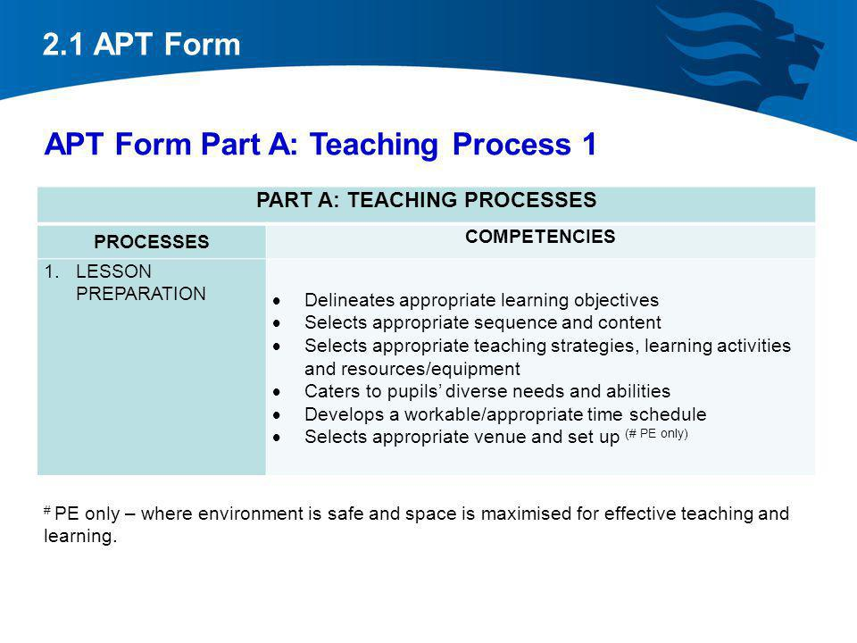 APT Form Part A: Teaching Process 1 PART A: TEACHING PROCESSES PROCESSES COMPETENCIES 1.LESSON PREPARATION Delineates appropriate learning objectives