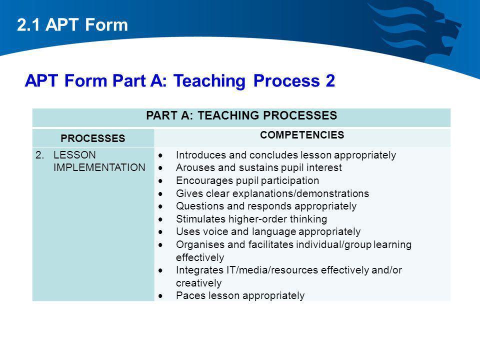 APT Form Part A: Teaching Process 2 2.1 APT Form PART A: TEACHING PROCESSES PROCESSES COMPETENCIES 2.LESSON IMPLEMENTATION Introduces and concludes le