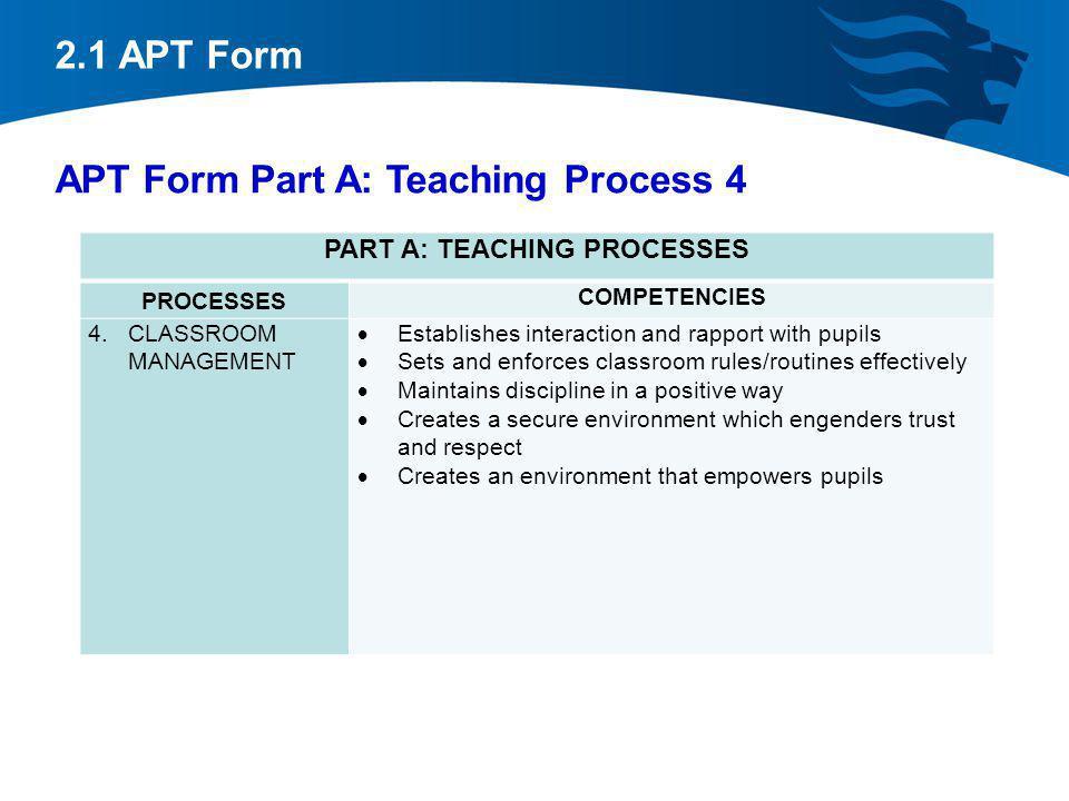 2.1 APT Form APT Form Part A: Teaching Process 4 PART A: TEACHING PROCESSES PROCESSES COMPETENCIES 4.CLASSROOM MANAGEMENT Establishes interaction and