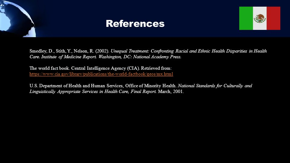 References Smedley, D., Stith, Y., Nelson, R. (2002). Unequal Treatment: Confronting Racial and Ethnic Health Disparities in Health Care. Institute of