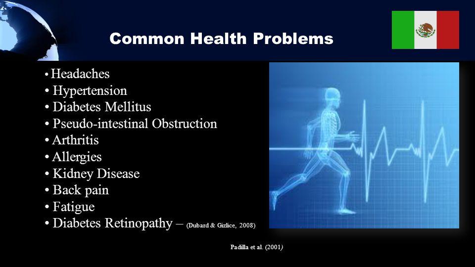 Common Health Problems Headaches Hypertension Diabetes Mellitus Pseudo-intestinal Obstruction Arthritis Allergies Kidney Disease Back pain Fatigue Diabetes Retinopathy – (Dubard & Gizlice, 2008) Padilla et al.