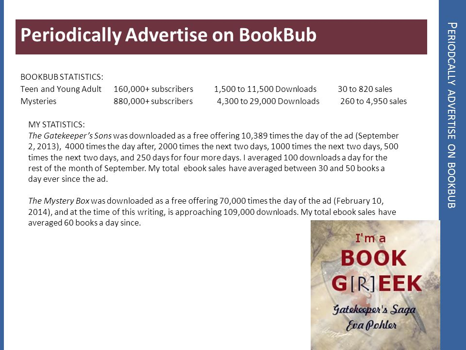 P ERIODCALLY ADVERTISE ON BOOKBUB Periodically Advertise on BookBub BOOKBUB STATISTICS: Teen and Young Adult 160,000+ subscribers 1,500 to 11,500 Down