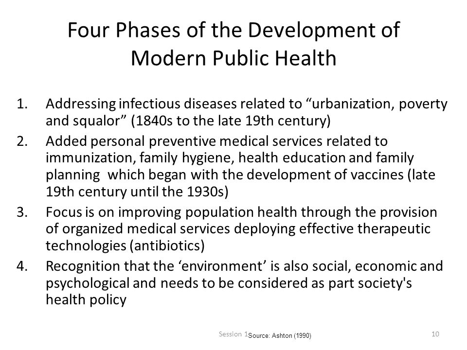 10 Four Phases of the Development of Modern Public Health 1.Addressing infectious diseases related to urbanization, poverty and squalor (1840s to the late 19th century) 2.Added personal preventive medical services related to immunization, family hygiene, health education and family planning which began with the development of vaccines (late 19th century until the 1930s) 3.Focus is on improving population health through the provision of organized medical services deploying effective therapeutic technologies (antibiotics) 4.Recognition that the environment is also social, economic and psychological and needs to be considered as part society s health policy Source: Ashton (1990) Session 1