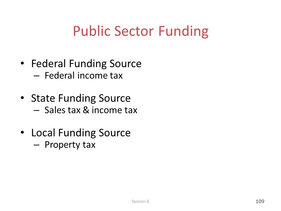 109 Public Sector Funding Federal Funding Source – Federal income tax State Funding Source – Sales tax & income tax Local Funding Source – Property tax Session 6