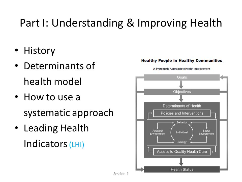 11 Part I: Understanding & Improving Health History Determinants of health model How to use a systematic approach Leading Health Indicators (LHI) Session 1