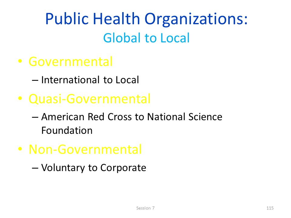 Public Health Organizations: Global to Local Governmental – International to Local Quasi-Governmental – American Red Cross to National Science Foundation Non-Governmental – Voluntary to Corporate 115Session 7