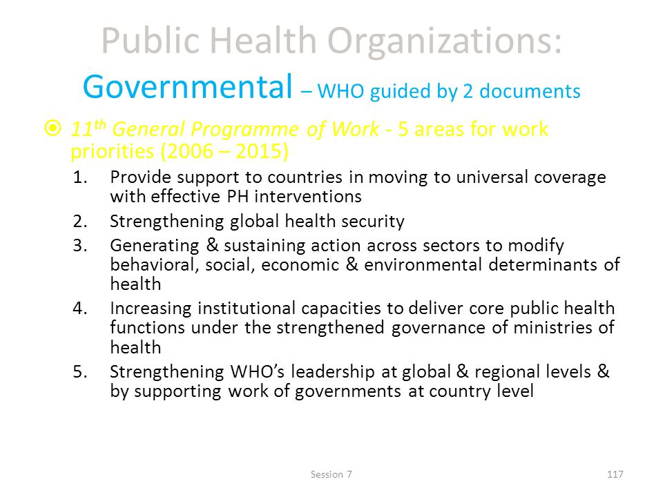 Public Health Organizations: Governmental – WHO guided by 2 documents 11 th General Programme of Work - 5 areas for work priorities (2006 – 2015) 1.Provide support to countries in moving to universal coverage with effective PH interventions 2.Strengthening global health security 3.Generating & sustaining action across sectors to modify behavioral, social, economic & environmental determinants of health 4.Increasing institutional capacities to deliver core public health functions under the strengthened governance of ministries of health 5.Strengthening WHOs leadership at global & regional levels & by supporting work of governments at country level 117Session 7