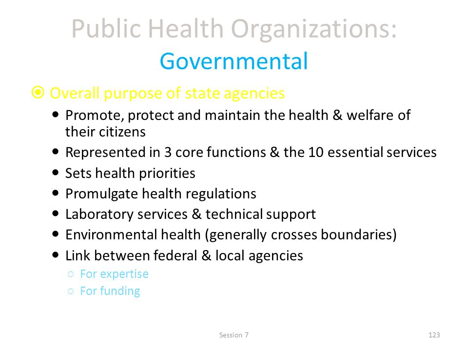 Public Health Organizations: Governmental Overall purpose of state agencies Promote, protect and maintain the health & welfare of their citizens Represented in 3 core functions & the 10 essential services Sets health priorities Promulgate health regulations Laboratory services & technical support Environmental health (generally crosses boundaries) Link between federal & local agencies For expertise For funding 123Session 7