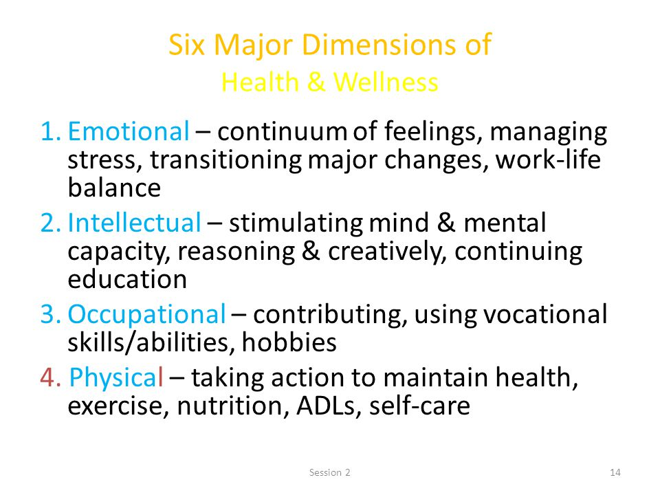 14 Six Major Dimensions of Health & Wellness 1.Emotional – continuum of feelings, managing stress, transitioning major changes, work-life balance 2.In