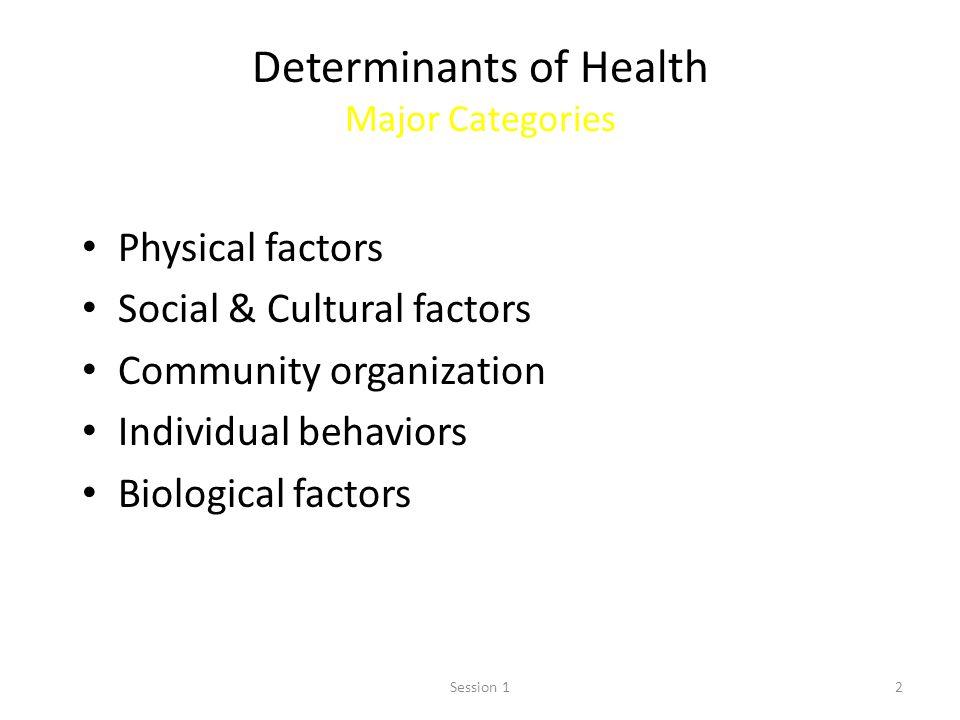 2 Determinants of Health Major Categories Physical factors Social & Cultural factors Community organization Individual behaviors Biological factors Se