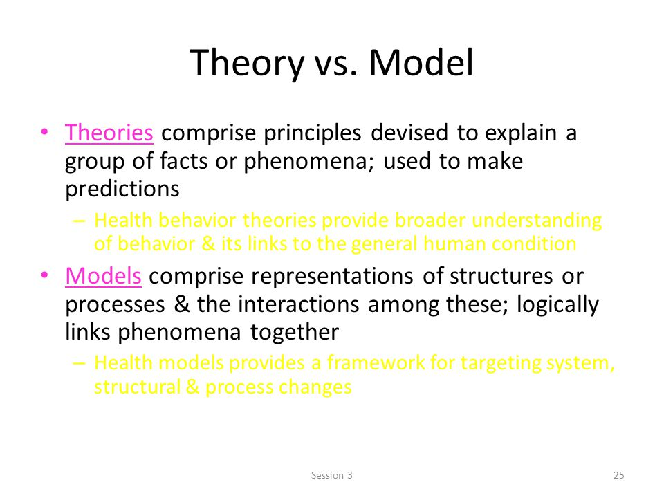 Theory vs. Model Theories comprise principles devised to explain a group of facts or phenomena; used to make predictions – Health behavior theories pr