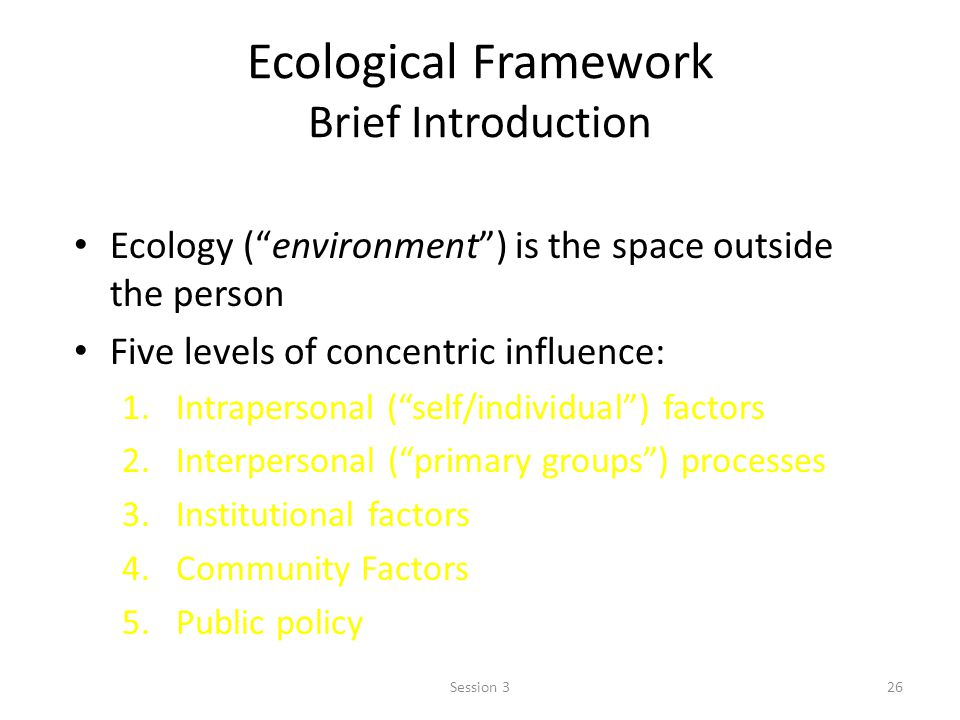 Ecological Framework Brief Introduction Ecology (environment) is the space outside the person Five levels of concentric influence: 1.Intrapersonal (se