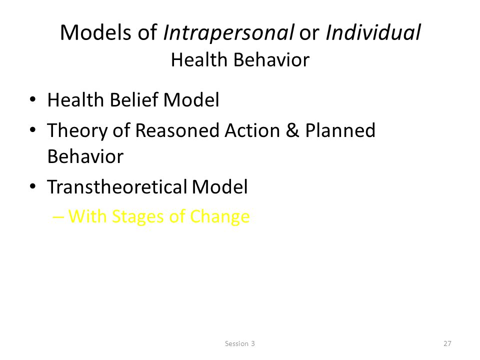 Models of Intrapersonal or Individual Health Behavior Health Belief Model Theory of Reasoned Action & Planned Behavior Transtheoretical Model – With Stages of Change 27Session 3