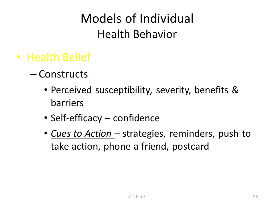Models of Individual Health Behavior Health Belief – Constructs Perceived susceptibility, severity, benefits & barriers Self-efficacy – confidence Cues to Action – strategies, reminders, push to take action, phone a friend, postcard 28Session 3