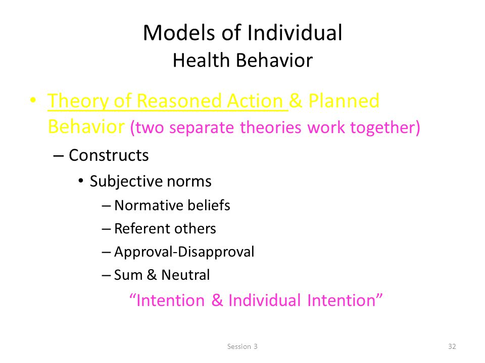 Models of Individual Health Behavior Theory of Reasoned Action & Planned Behavior (two separate theories work together) – Constructs Subjective norms – Normative beliefs – Referent others – Approval-Disapproval – Sum & Neutral – Think – Intention & Individual Intention 32Session 3