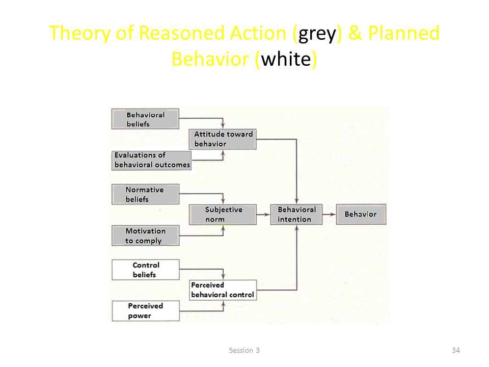 Theory of Reasoned Action (grey) & Planned Behavior (white) 34Session 3