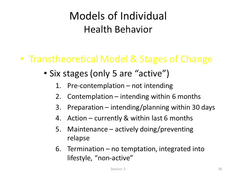 Models of Individual Health Behavior Transtheoretical Model & Stages of Change Six stages (only 5 are active) 1.Pre-contemplation – not intending 2.Contemplation – intending within 6 months 3.Preparation – intending/planning within 30 days 4.Action – currently & within last 6 months 5.Maintenance – actively doing/preventing relapse 6.Termination – no temptation, integrated into lifestyle, non-active 36Session 3