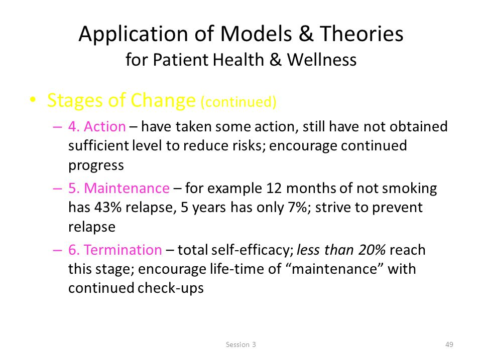 Application of Models & Theories for Patient Health & Wellness Stages of Change (continued) – 4.