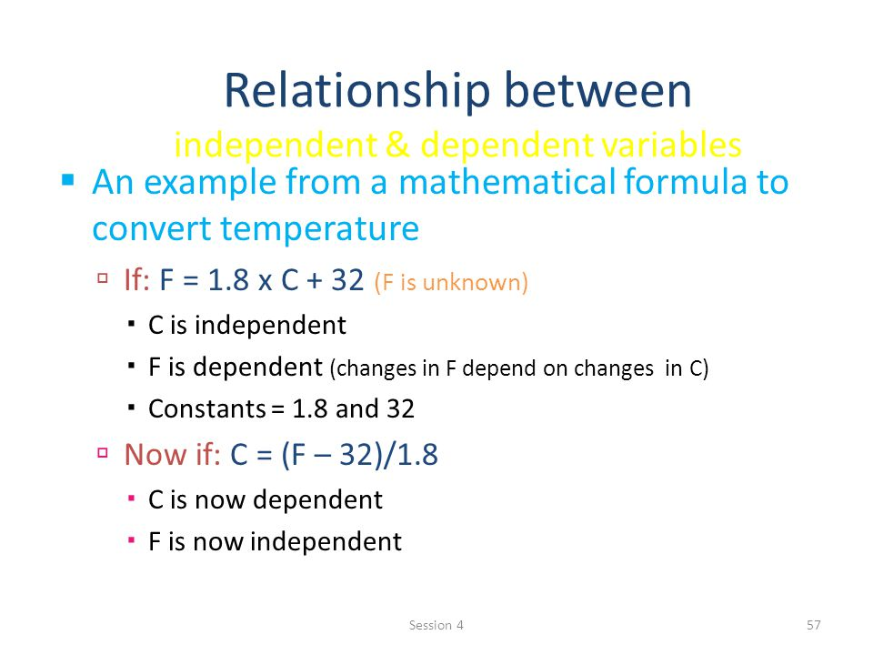 Relationship between independent & dependent variables An example from a mathematical formula to convert temperature If: F = 1.8 x C + 32 (F is unknown) C is independent F is dependent (changes in F depend on changes in C) Constants = 1.8 and 32 Now if: C = (F – 32)/1.8 C is now dependent F is now independent 57Session 4