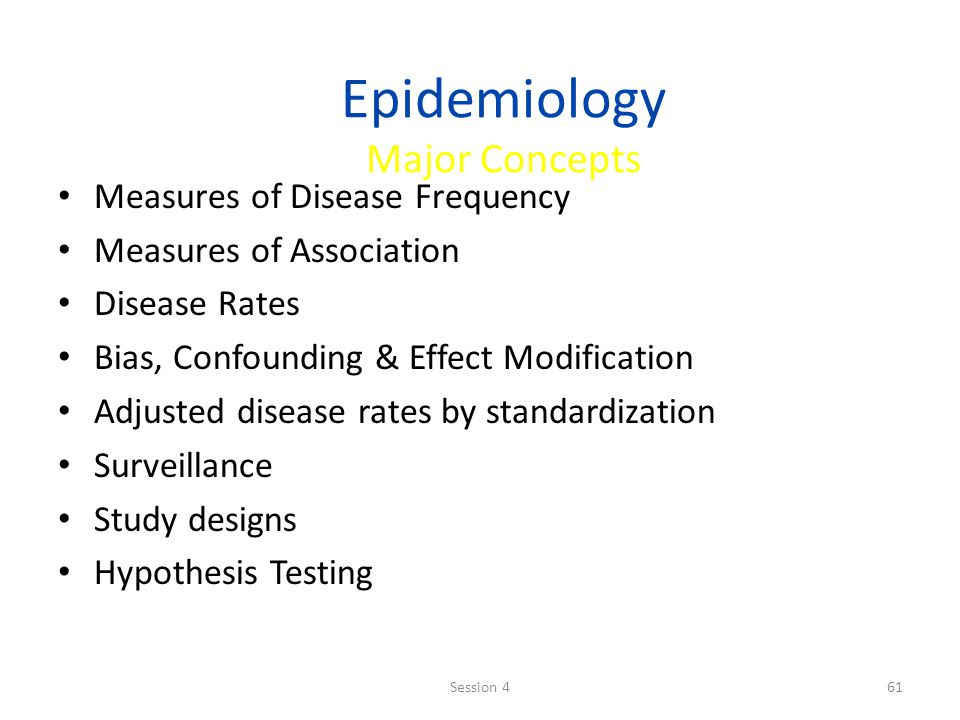 Epidemiology Major Concepts Measures of Disease Frequency Measures of Association Disease Rates Bias, Confounding & Effect Modification Adjusted disea