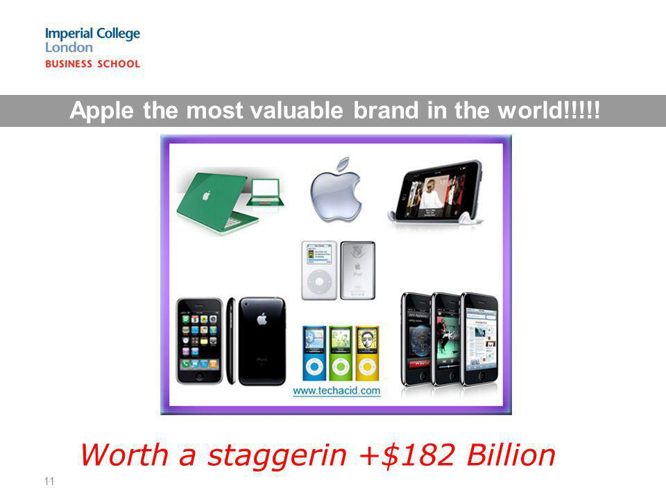 Apple the most valuable brand in the world!!!!! Worth a staggerin +$182 Billion 11