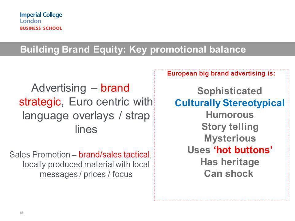 Building Brand Equity: Key promotional balance Advertising – brand strategic, Euro centric with language overlays / strap lines Sales Promotion – bran