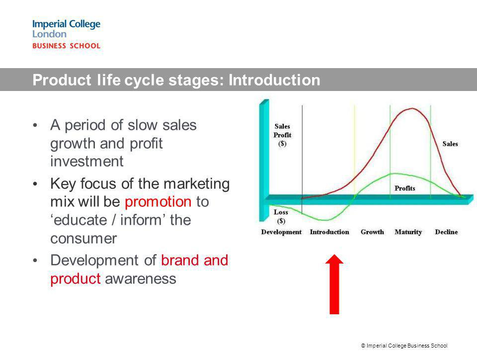 Product life cycle stages: Introduction A period of slow sales growth and profit investment Key focus of the marketing mix will be promotion to educat