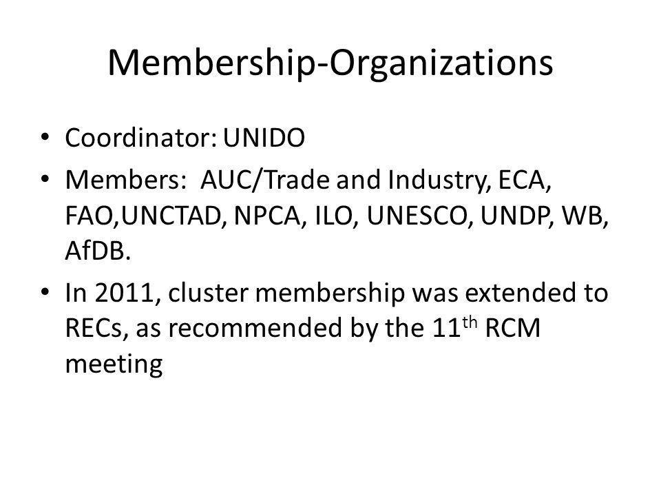 Membership-Organizations Coordinator: UNIDO Members: AUC/Trade and Industry, ECA, FAO,UNCTAD, NPCA, ILO, UNESCO, UNDP, WB, AfDB.