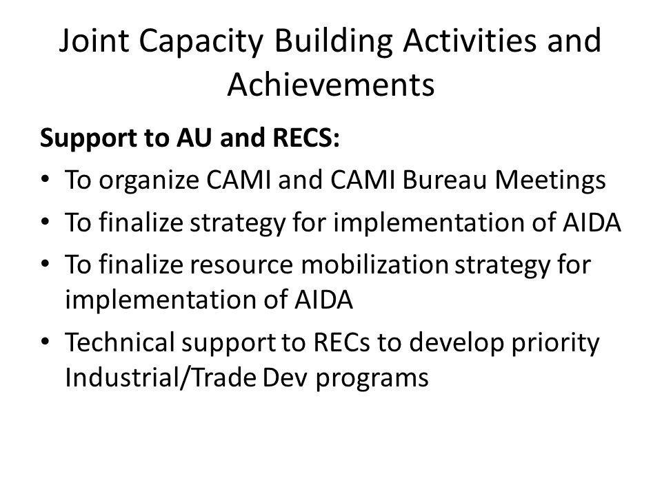 Joint Capacity Building Activities and Achievements Support to AU and RECS: To organize CAMI and CAMI Bureau Meetings To finalize strategy for implementation of AIDA To finalize resource mobilization strategy for implementation of AIDA Technical support to RECs to develop priority Industrial/Trade Dev programs