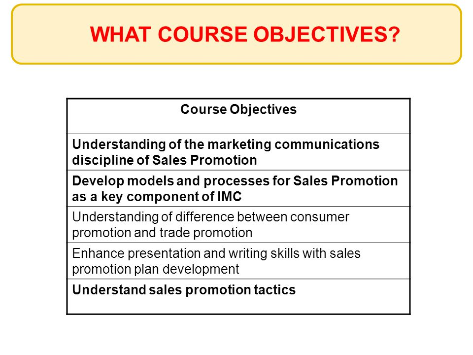 WHAT COURSE OBJECTIVES? Course Objectives Understanding of the marketing communications discipline of Sales Promotion Develop models and processes for