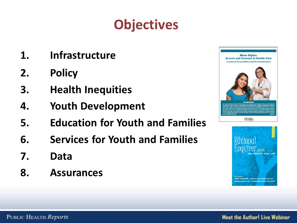 1.Infrastructure 2.Policy 3.Health Inequities 4.Youth Development 5.Education for Youth and Families 6.Services for Youth and Families 7.Data 8.Assurances Objectives