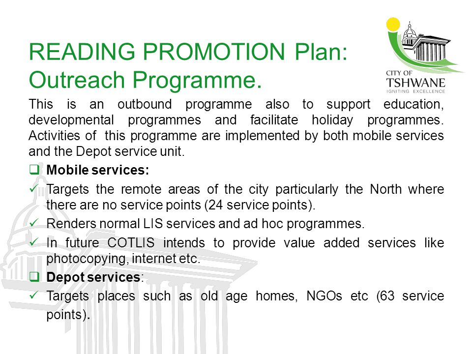 READING PROMOTION Plan: Outreach Programme.