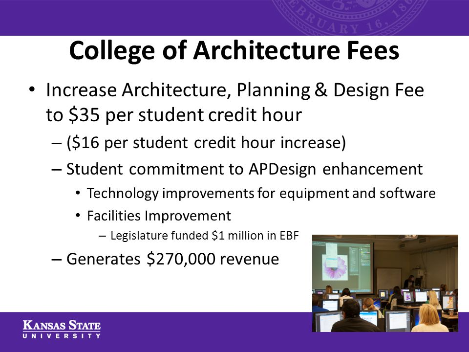 College of Architecture Fees Increase Architecture, Planning & Design Fee to $35 per student credit hour – ($16 per student credit hour increase) – St