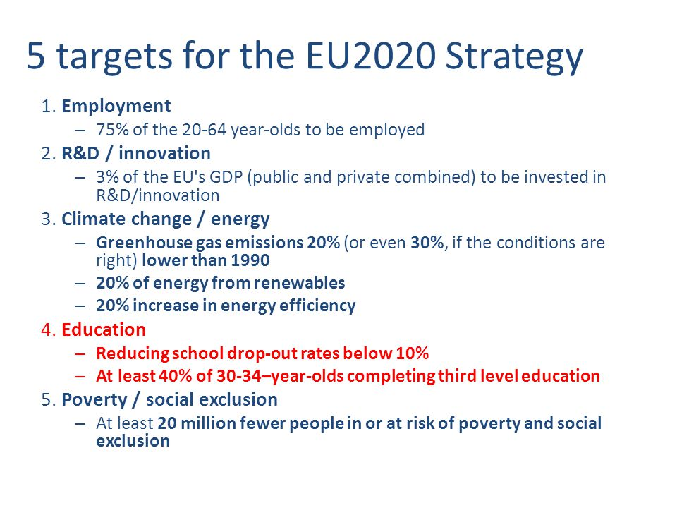 EU Cohesion Policy Proposals from the European Commission Menu of thematic objectives in line with the Europe 2020 Strategy Investments in: – Research and innovation – Information and communication technologies (ICT) – Competitiveness of Small and Medium-sized Enterprises (SMEs) – Shift towards a low-carbon economy – Climate change adaptation & risk prevention and management – Environmental protection & resource efficiency – Sustainable transport & removing bottlenecks in key network infrastructures – Employment & supporting labour mobility – Social inclusion & combating poverty – Education, skills & lifelong learning – Institutional capacity building & efficient public administrations