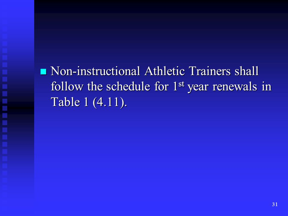 Non-instructional Athletic Trainers shall follow the schedule for 1 st year renewals in Table 1 (4.11). Non-instructional Athletic Trainers shall foll