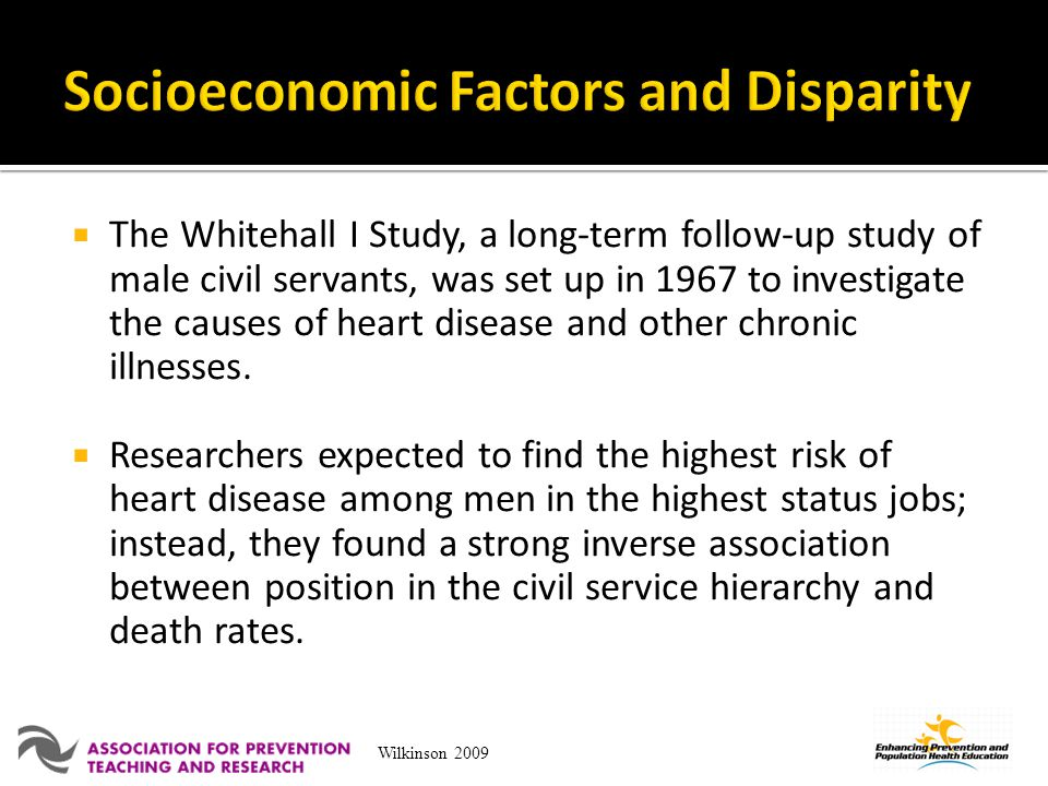 The Whitehall I Study, a long-term follow-up study of male civil servants, was set up in 1967 to investigate the causes of heart disease and other chr