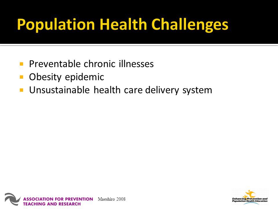 Preventable chronic illnesses Obesity epidemic Unsustainable health care delivery system Maeshiro 2008