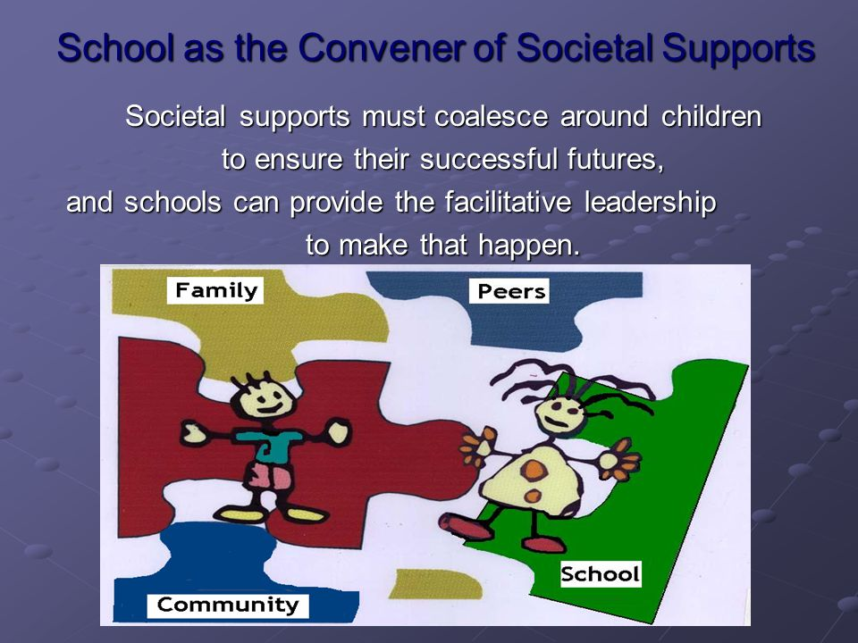 School as the Convener of Societal Supports Societal supports must coalesce around children to ensure their successful futures, and schools can provide the facilitative leadership to make that happen.