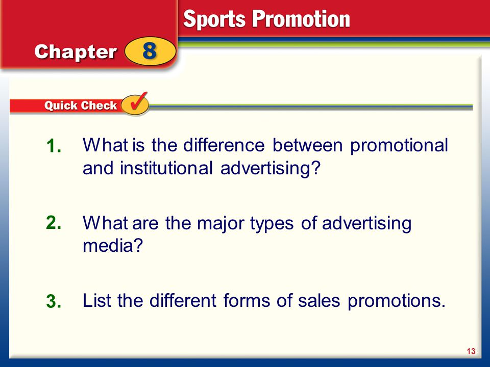 What is the difference between promotional and institutional advertising? What are the major types of advertising media? List the different forms of s