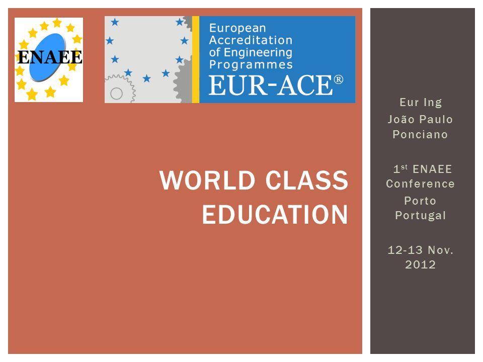 Eur Ing Jo ã o Paulo Ponciano 1 st ENAEE Conference Porto Portugal 12-13 Nov.
