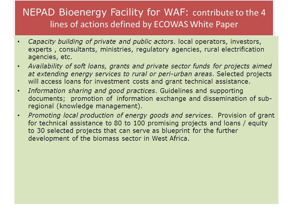 NEPAD Bioenergy Facility for WAF: contribute to the 4 lines of actions defined by ECOWAS White Paper Capacity building of private and public actors.