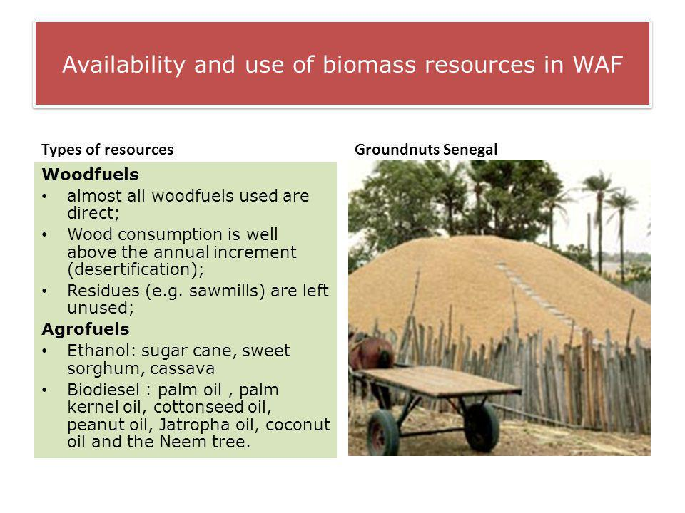Availability and use of biomass resources in WAF Types of resources Woodfuels almost all woodfuels used are direct; Wood consumption is well above the annual increment (desertification); Residues (e.g.