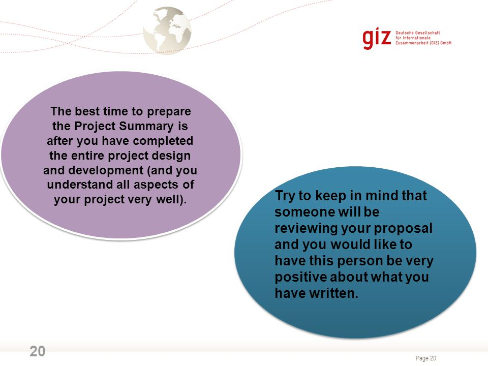 Page 20 20 The best time to prepare the Project Summary is after you have completed the entire project design and development (and you understand all aspects of your project very well).