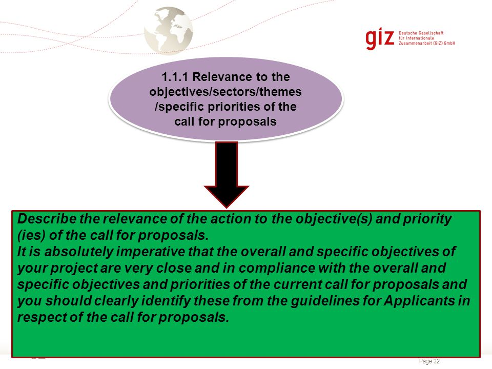 Page 32 32 1.1.1 Relevance to the objectives/sectors/themes /specific priorities of the call for proposals Describe the relevance of the action to the objective(s) and priority (ies) of the call for proposals.