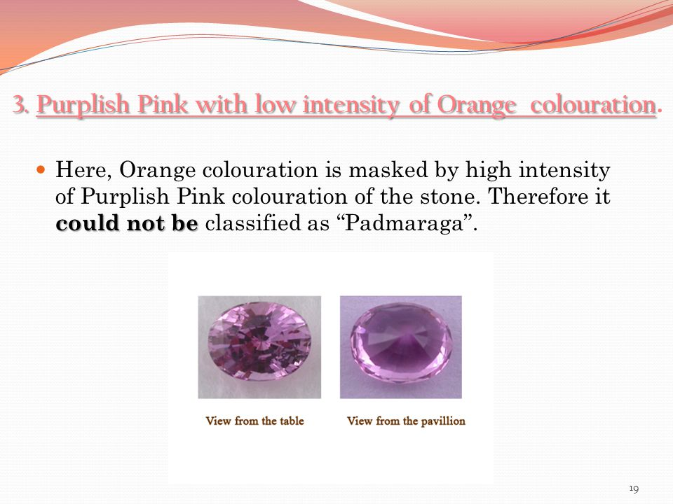 3. Purplish Pink with low intensity of Orange colouration 3. Purplish Pink with low intensity of Orange colouration. could not be Here, Orange coloura